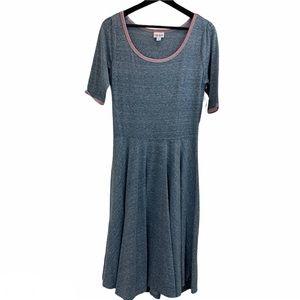 LuLaRoe Nicole Dress Heathered Blue with Pink Trim